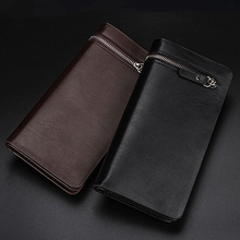 Men's Faux Leather Zip Long Wallet Purse Card Holder Checkbook Billfold Clutch BVQ2