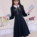2017 Spring Newest Women's Navy Blue Sexy Long Sleeve Dress Fashion Women Clothing Vestidos Bow Printing Party Dresses XY1002