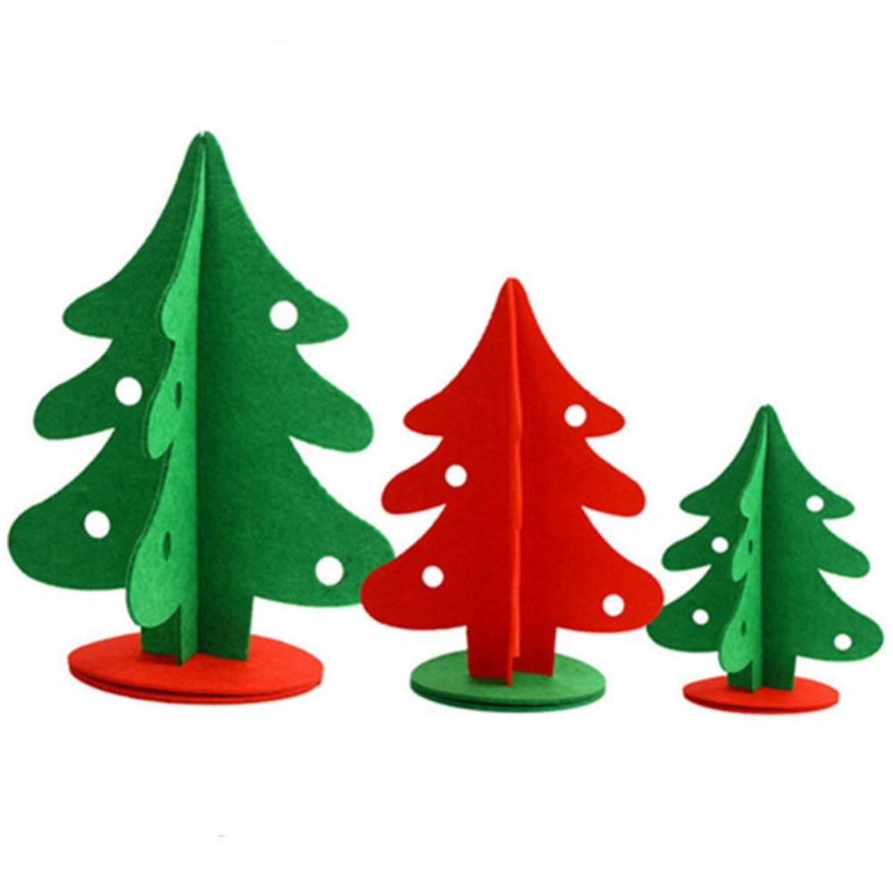 2 Pcs Lot Non Woven Christmas Tree Three Dimensional Mini Xmas Home Table Window Decorations Artificial Trees In From Garden