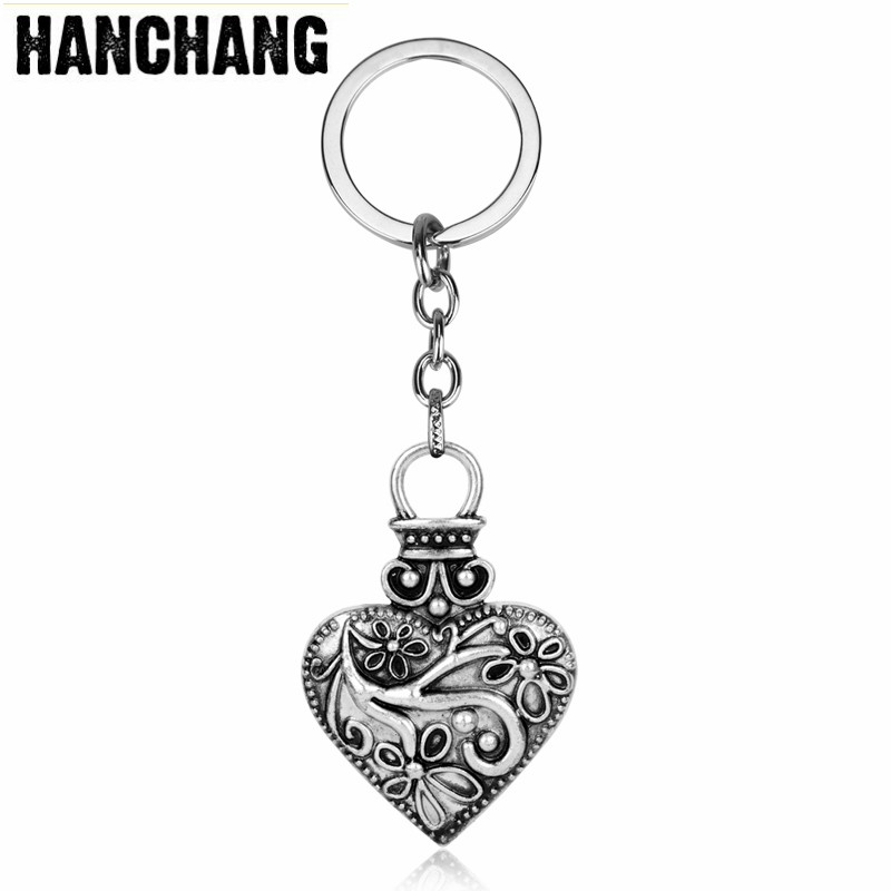 Vintage Jewelry Movie Vampire Diaries Heart Pendant Keychain Women Car Key Holder Ring Metal Accessories Chaveiros