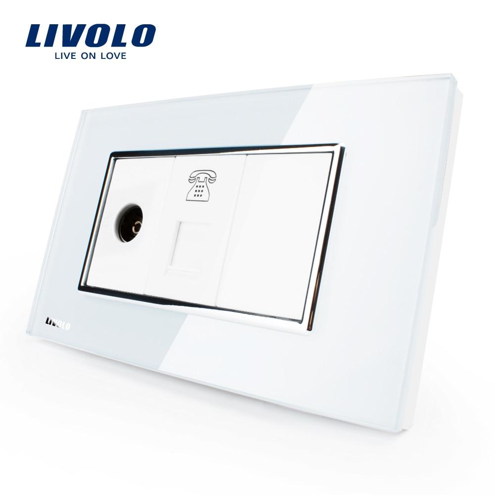 Livolo US/AU Standard  Luxury TV & Telephone  Socket  With  White/Black Pearl Crystal Glass VL-C391VT-81/82Livolo US/AU Standard  Luxury TV & Telephone  Socket  With  White/Black Pearl Crystal Glass VL-C391VT-81/82