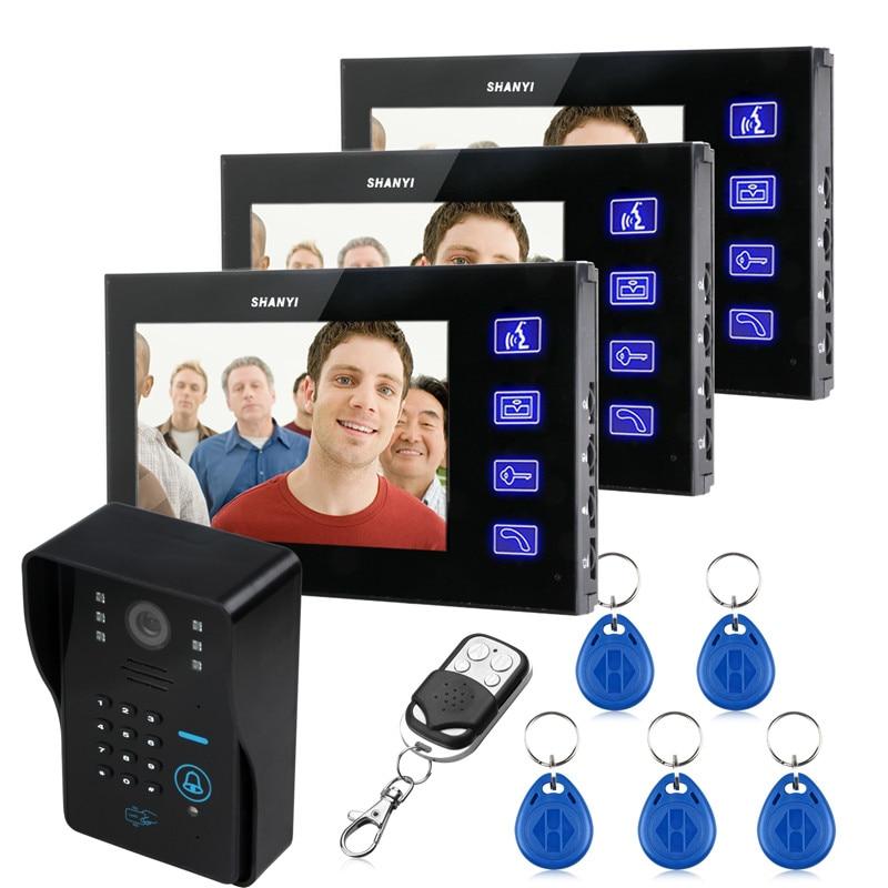 7 TFT lcd Видео телефон двери колокольчики домофон системы брелоков ИК Камера Код клавиатуры Пульт дистанционного управления + переключатель