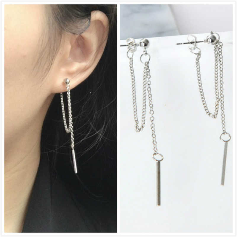 Versi Korea dari Perhiasan Anting-Anting Rumbai Fashion Retro Anting-Anting Panjang Rantai Tekstur Logam Anting-Anting Grosir Laporan Anting-Anting
