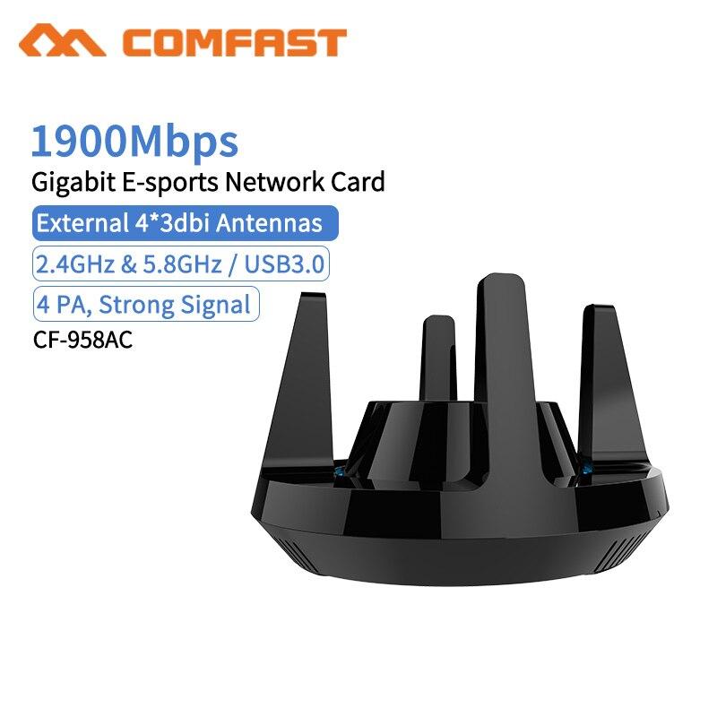 Comfast CF-958AC haute puissance PA Wifi adaptateur 1900 Mbps Gigabit e-sports carte réseau 2.4 Ghz + 5.8 Ghz USB 3.0 PC Lan Dongle récepteur