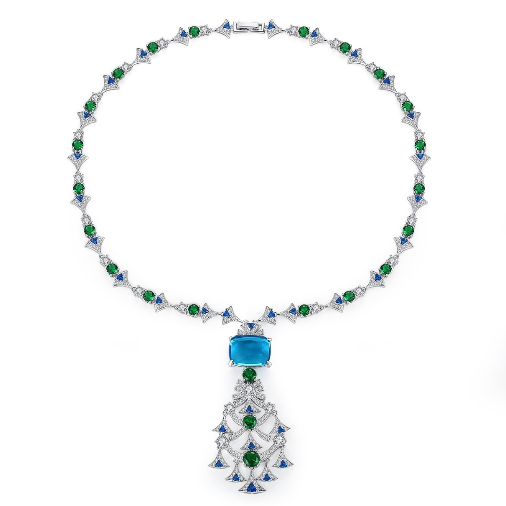 LUOTEEMI Women Tree Shape Pendant Necklaces Red Blue Color Paved CZ Ethnic Fashion Jewelry Clothing Accessories