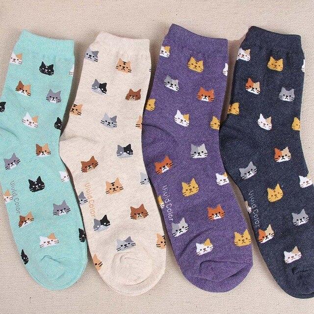 [COAPLACOOL] 5 цветов Осень Новый носки Животных мультфильм cat прекрасный для женщин хлопчатобумажные носки