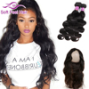 Hot 8A Unprocessed Brazilian Body Wave Virgin Hair With Closure Wet And Wavy Human Hair Pre Plucked 360 Lace Frontal With Bundle