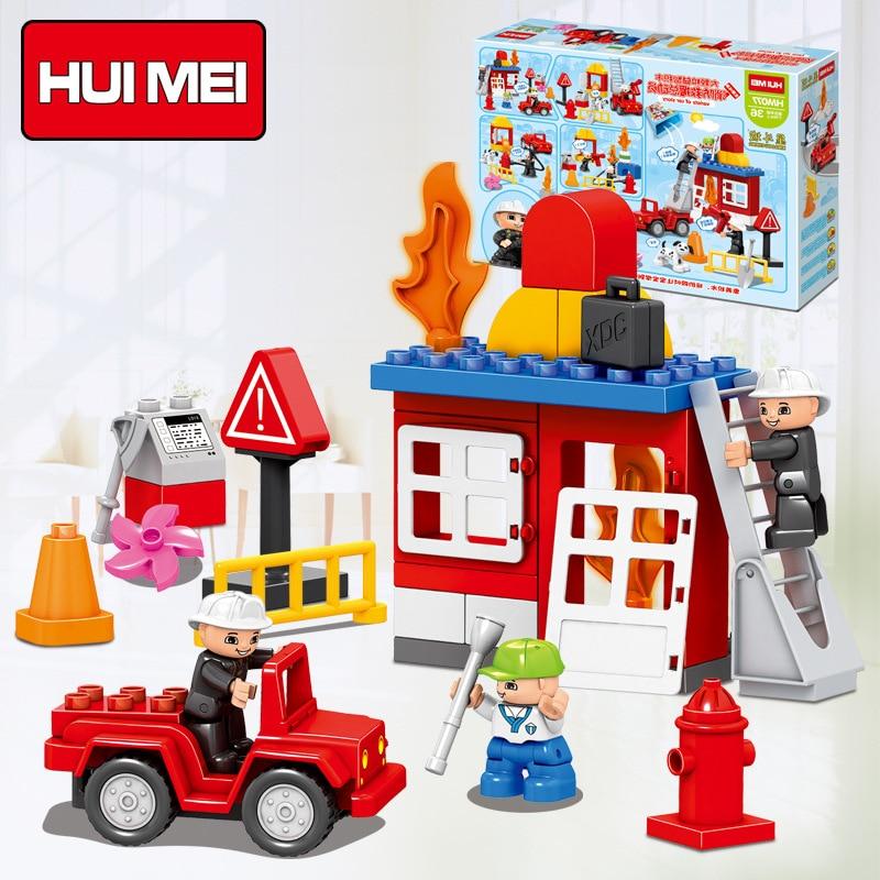 Hm077 52pcs Fireman Rescue Fire Size Bricks Large