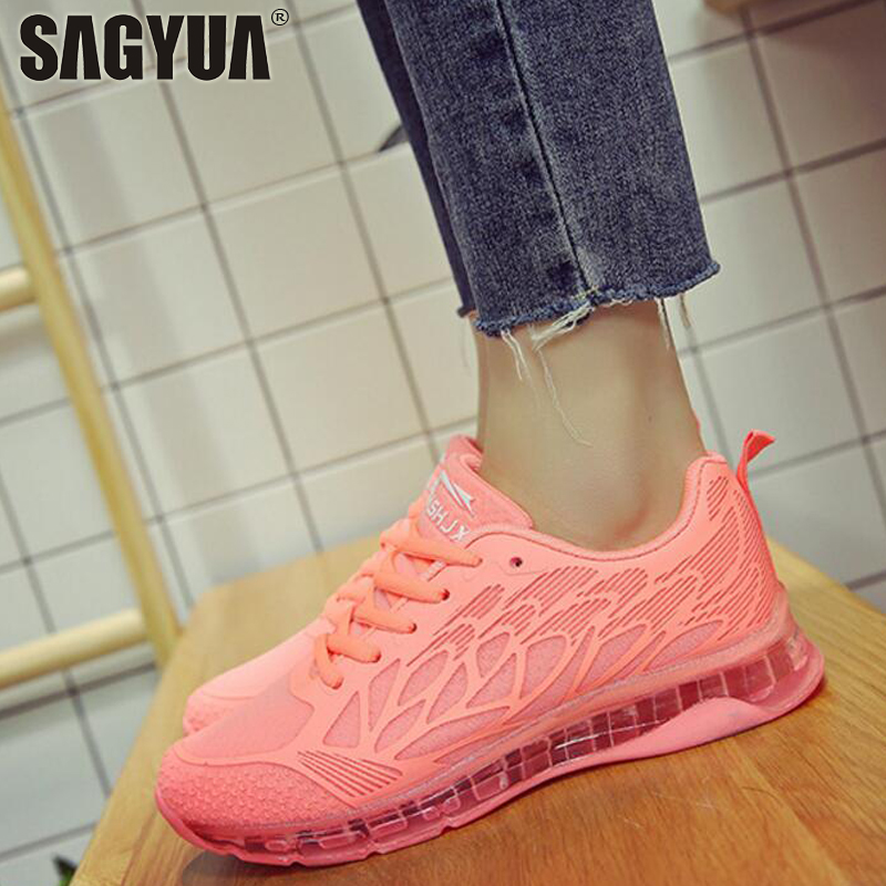 New Arrival Lady Women Casual Mujer Female Feminino Knitting Net Mesh Air Cushion Damping Zapatos Mujer Crystal Sole Shoes T781