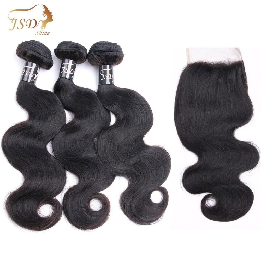 JSDshine Hair Burmese Body Wave Bundles With Closure Human Hair 4*4 Lace Closure 3 Bundles Non-Remy Hair Free Shipping Extension