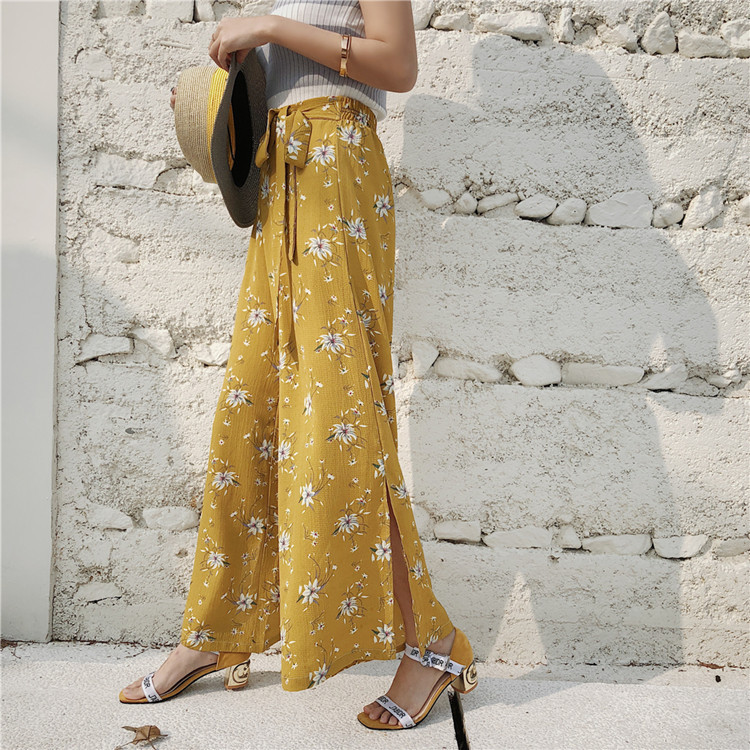New Fashion Women   pants   Harajuku   Pants   with Sashes Beach Causal   Wide     Leg     Pants   Ankle-Length Chiffon   Pants   Free Shipping