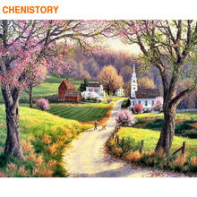 CHENISTORY Frame Countryside Painting By Numbers Landscape Coloring By Numbers Wall Art Picture Canvas Painting For Home Decors(China)