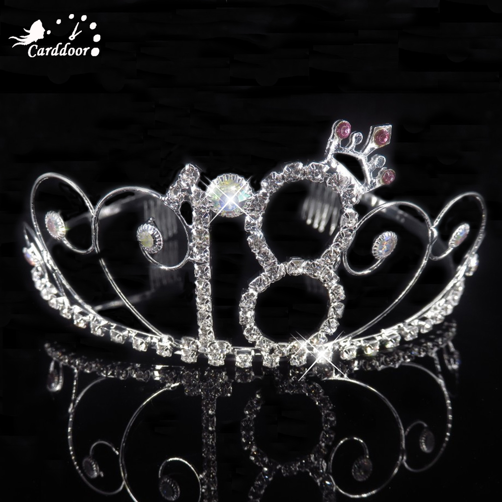 Carddoor 16/18 Years old's Birthday Crystal Tiaras and <font><b>Crowns</b></font> HairBands Girls Party Hair Accessories <font><b>Princess</b></font> Hair Jewelry image