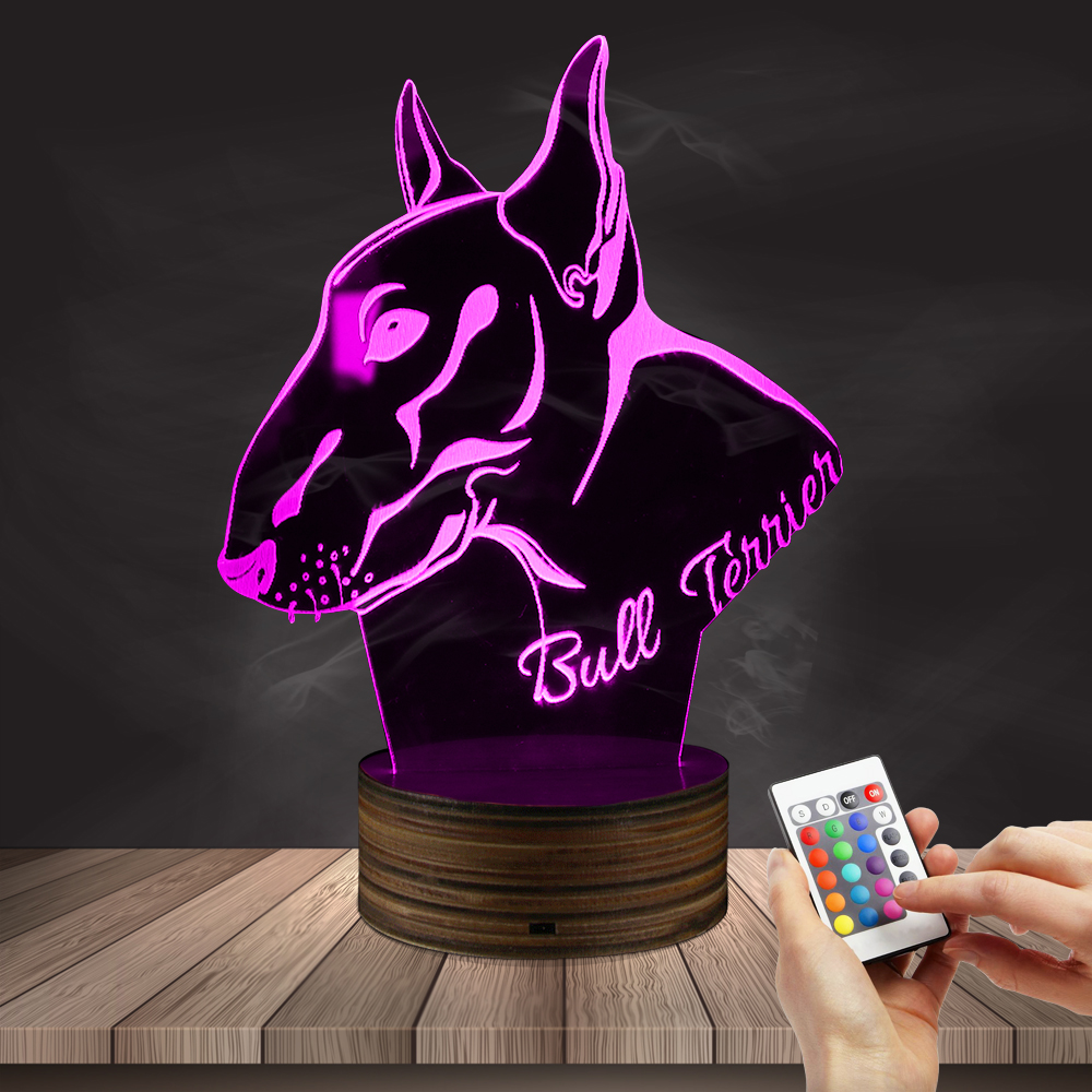 1Piece English Pit Bull Terrier LED Night Light Home Decor Table Lamp Pet Puppy Dog Breed 3D Optical illusion Light Desk Lamp free shipping 1piece new arrive marvel anti hero deadpool figure light handmade 3d bulbing illusion lamp led mood light for kid