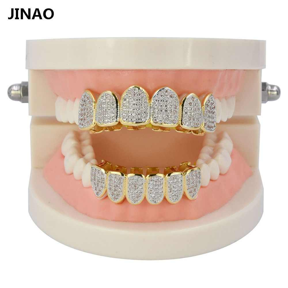 ... JINAO Gold Silver Plated Hip Hop Teeth Grill All Iced Out CZ Stone  Micro Paved Men ... cb177a0e5