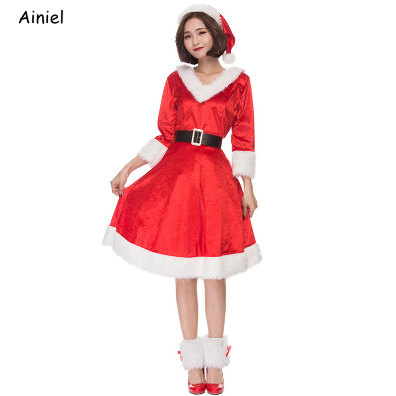New Year Merry Christmas Costumes Cap Santa Claus Deluxe Velvet Red Dresses Skirt Hats Belt Uniform Adults Women Girls Clothes