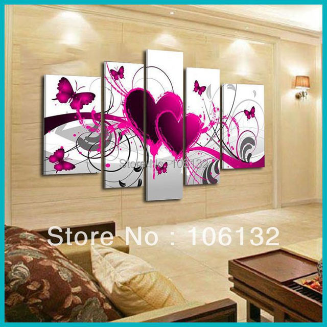 Framed 5 Panel Large High End Amazing Red Heart Canvas Painting 5 ...