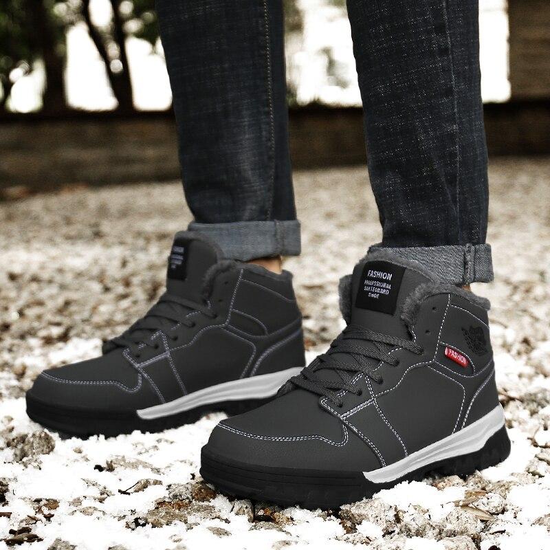 Black Sapatos Tamanho Fur Inverno Para Ar Inferior Preto Botas Fur Masculino Mens Da Ao Borracha 39 Livre gray Cinza Pele Homem Homens Caça Grande 46 De Quente pFprYvg
