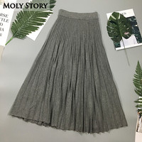 Fashion Vintage Long Knitted Skirts Gray High Waist Pleated Skirts Jupe Femme Faldas Mujer