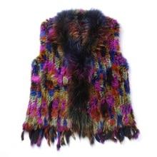 2017 Lady Fashion Genuine Knitting Rabbit Fur Vest Waistcoat Raccoon Fur Collar with Tassels Women Fur Gilet Outerwear fahion artificial fur gilet outerwear