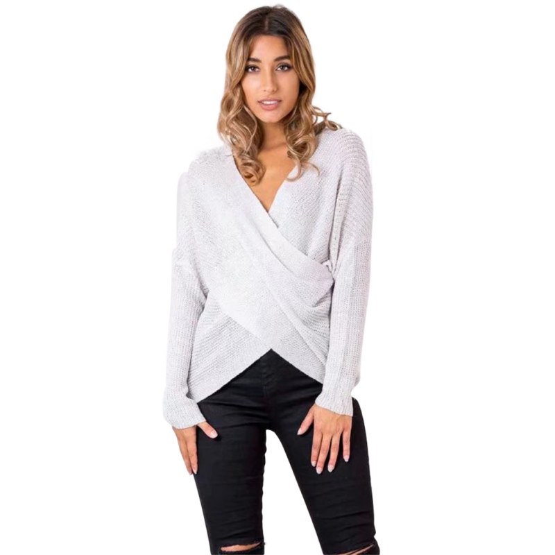 WEIXINBUY Women Deep V Neck Cross Design Knit Sweaters