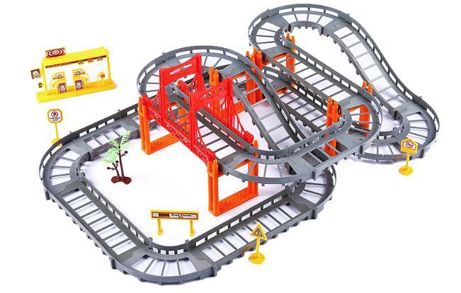 Train Track Accessories Curved Bridge Parts Bricks Kids Toys Car Racing Model Technic Building Blocks Toys for Children