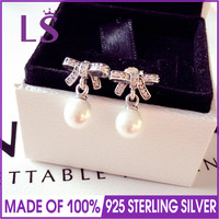 LS 100 925 Sterling Silver Delicate Sentiments Pearls Hanging Earrings Paved AAA Zircon Top Quality For