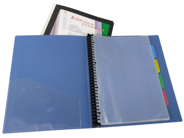 30-hole Loose-leaf Information Booklet Display Book A4 Centerfold Resource Book Self-matching  Classification Label 20 Pages