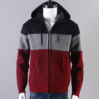 Winter Thick Velvet Sweater Men Jacket Cotton Hooded Fur Jacket Men's Winter Padded Knitted Cardigan Coat Spring Outdoors w0640
