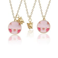 Fashion Round Powder Pig Color Three-dimensional Golden Pig Pendant Cute Necklace For Women Jewellery Gift Dropshipping(China)