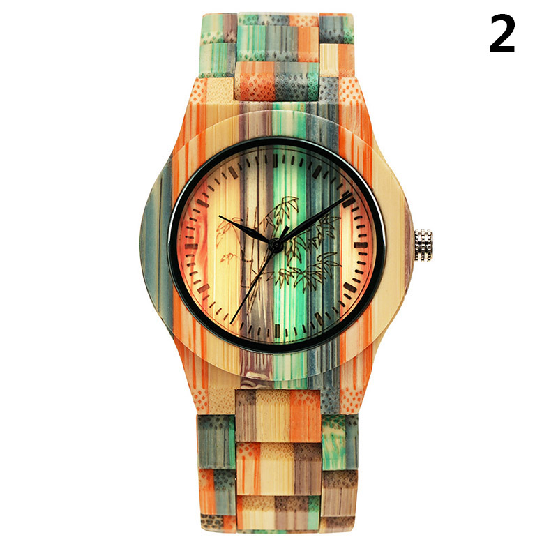 Quartz-Watch Wooden-Strap Wrist Gift Round Women Fashion Lady Colorful AIC88 1pcs Dial