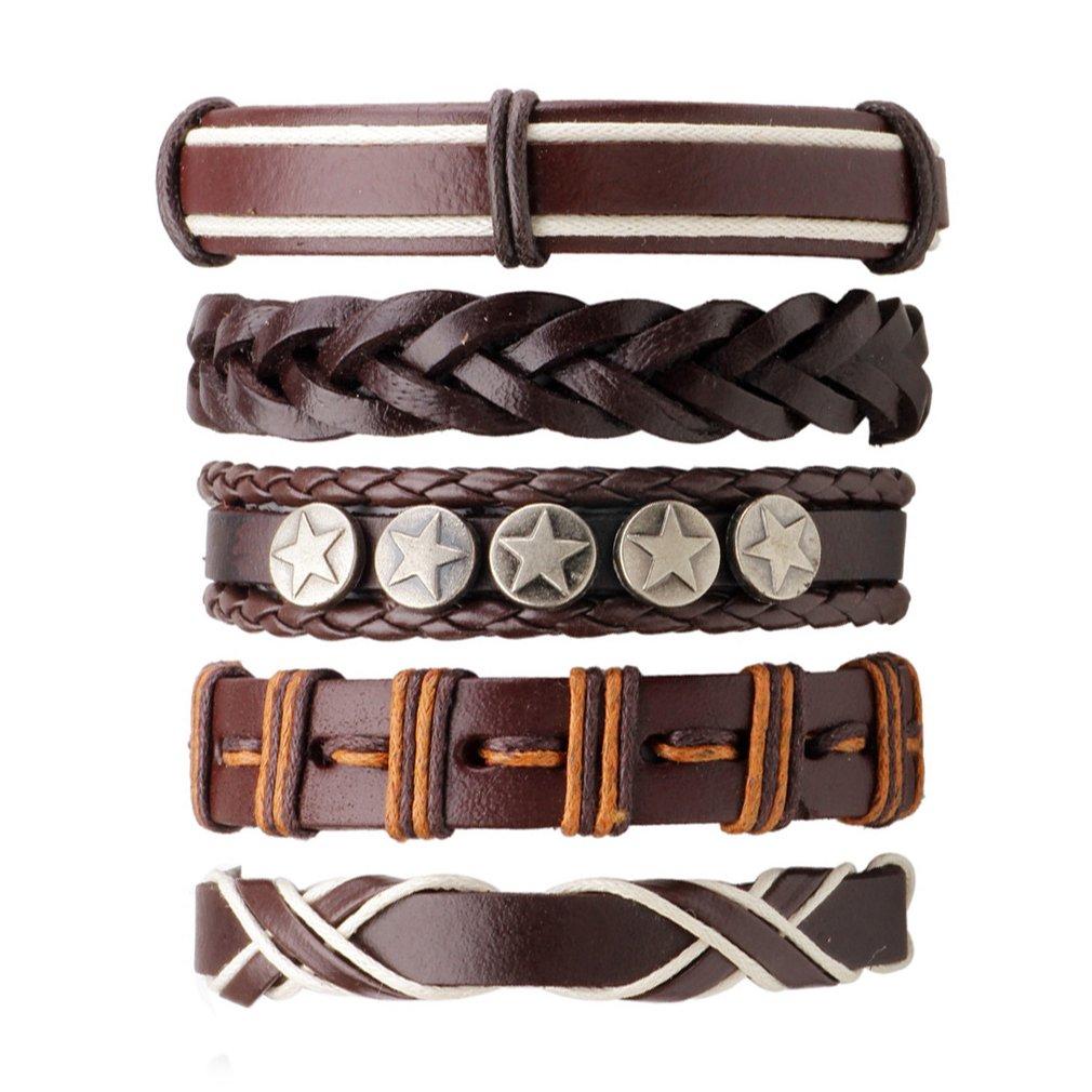 5PCS/PACK Minimalist Style Handmade Ethnic Tribal Leather Charming Braided Bracelet Male Pulsera Fashion jewellry Accessories