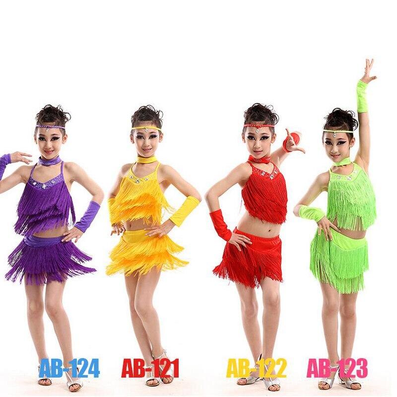 ᐊ110-160cm Girl Rose Fringe Paillette Latin Dance Dress Kids Tassel ...