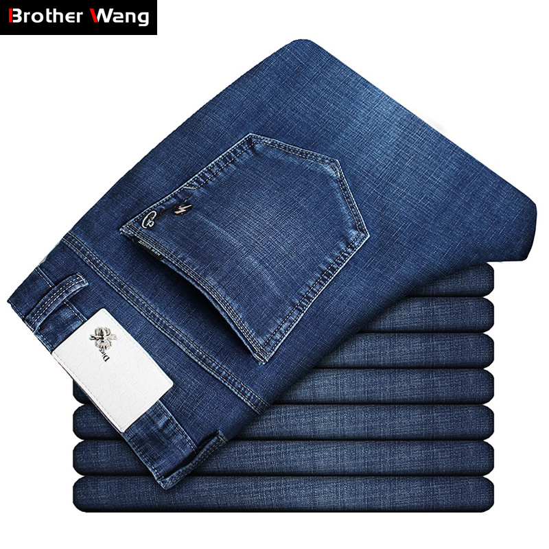 2019 Spring Summer New Men's Slim Jeans Fashion Casual Classic Style Washed Blue Elastic Force Daning Trousers Male Brand Pants