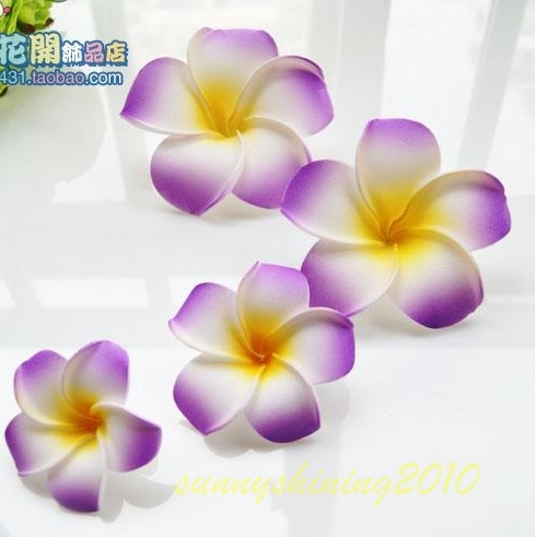50 large 8CM high quality purple colour Foam Frangipani Flower Hawaiian Plumeria flower WEDDING Accessories