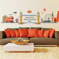 Европейский английский стиль, городское строительство, Биг-Бен, стикер на стену, я люблю Лондон, воздушный шар, автобус, гостиная, фреска, съе...