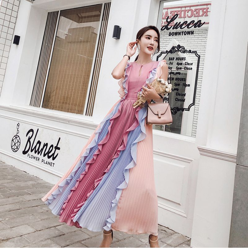 2018 New Arrival High quality luxury runway Pleated patchwork colour leaf dress dress goddess chiffon rainbow Long dress