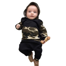 2Pcs Toddler Infant Baby Boy Clothes Long Sleeve Camouflage Hooded Tops+Pants Toddler Boy Outfits Set цена в Москве и Питере