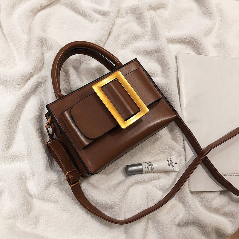 Designer Small Crossbody Bags With Belt Buckle Decoration Vintage Leather Handbags And Purses Female Shoulder Messenger Hand Bag