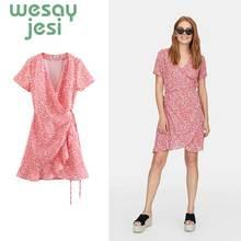 2019 summer dress women vestidos england style short sleeve flower print v neck sashes mini V-Neck Sexy party