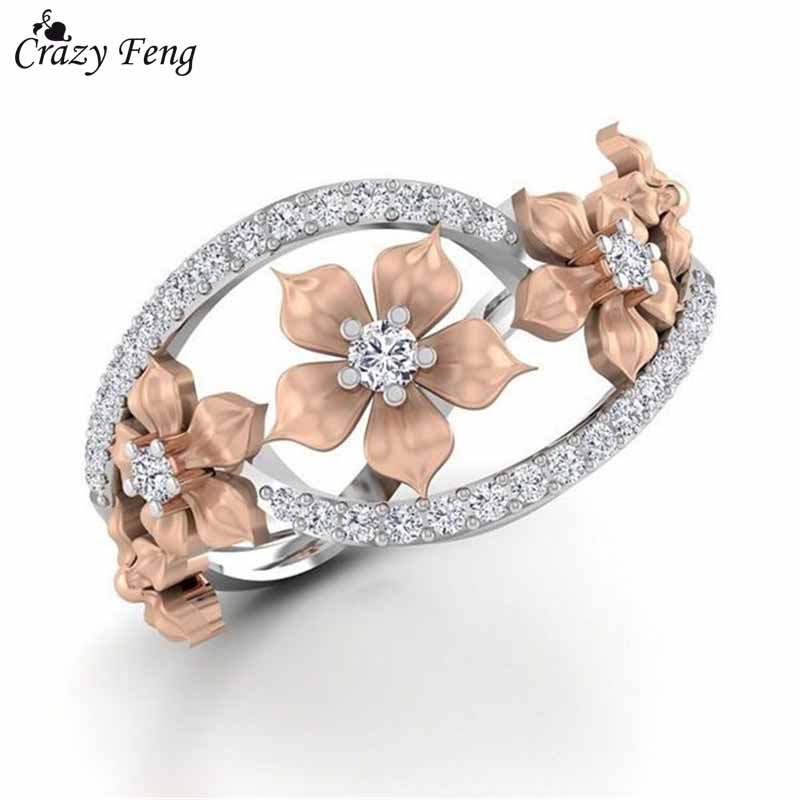 Crazy Feng New Fashion Rose Gold Color Flower Crystal Wedding Rings For Women Znic Alloy Finger Rings Party Jewllery Gift Anel