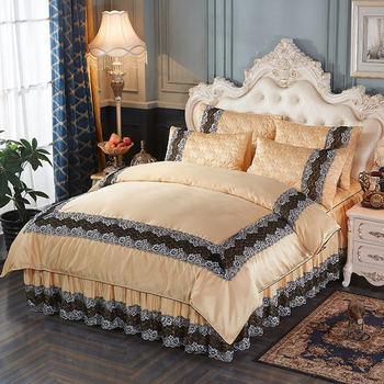 Luxury royal bedding set silk cotton quilt cover lace bed skirt pillowcase 4pcs