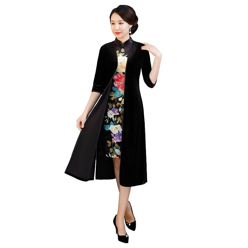 2 traditionelle Kleidung Chinesische Samt 4rmel St Kleid 2018 Shanghai Qipao Set Style Oriental 3 History Cheongsam USMzVqp