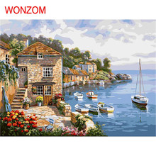 lakeside villa oil paint painting by numbers diy picture coloring drawing on canvas unframed quadro cheap