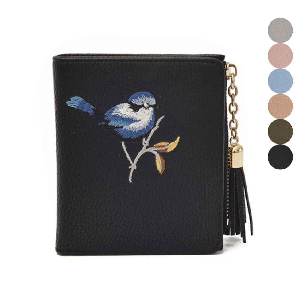 Women Cute Tassels Zipper Card Holder Wallet Vintage Bird Embroidery Short Purse PU Leather Coin Pocket Lady Casual Money Bag japan anime pocket monster pokemon pikachu cosplay wallet men women short purse leather pu coin card holder bag