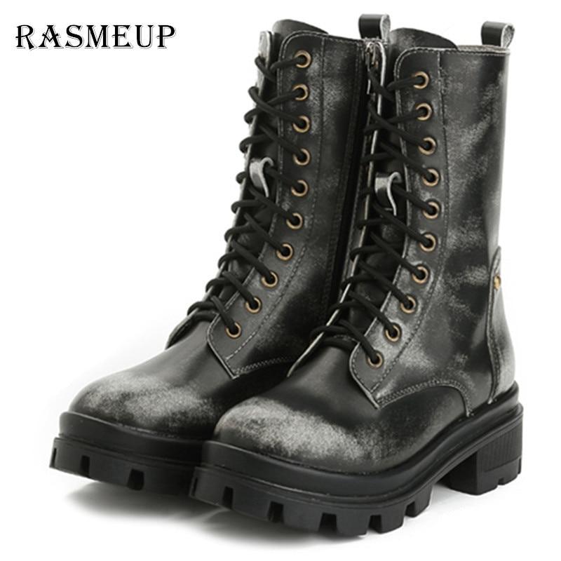 RASMEUP Genuine Leather Retro Women's Motorcycle Boots Fashion Waterproof Women Martin Boots Woman Punk Gothic Platform Shoes