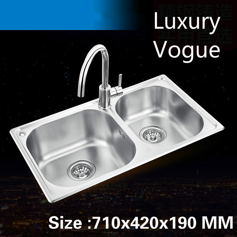 Free shipping Luxurious standard hot sell kitchen double groove sink food grade stainless steel whole drawing 710×420 MM