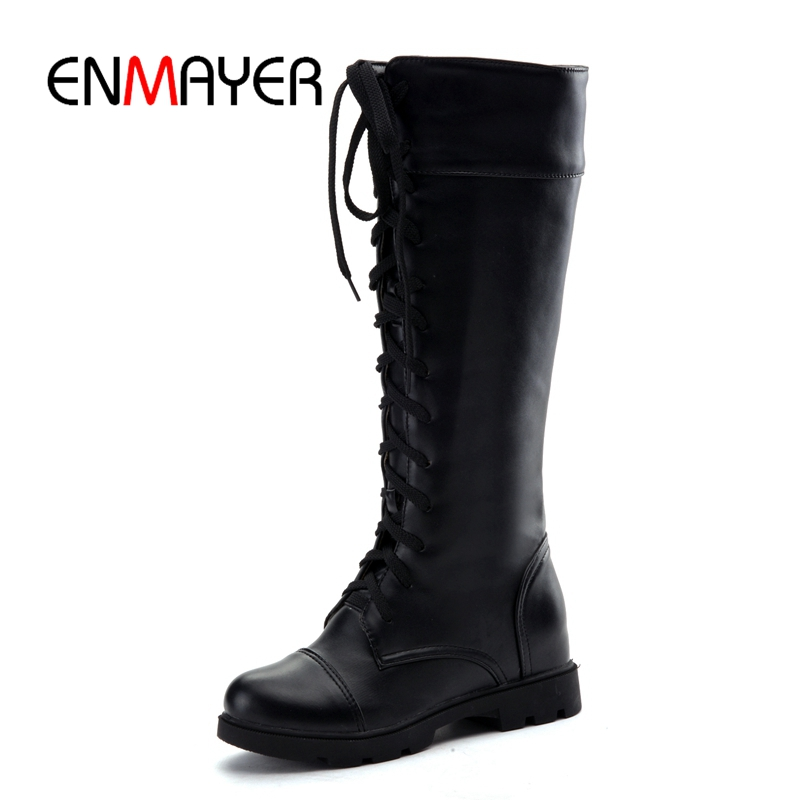 ENMAYER FEMALE 2018 Autumn Winter women knee high lace up boots lady round toe square heel boots Big size 34 43 ZYL324