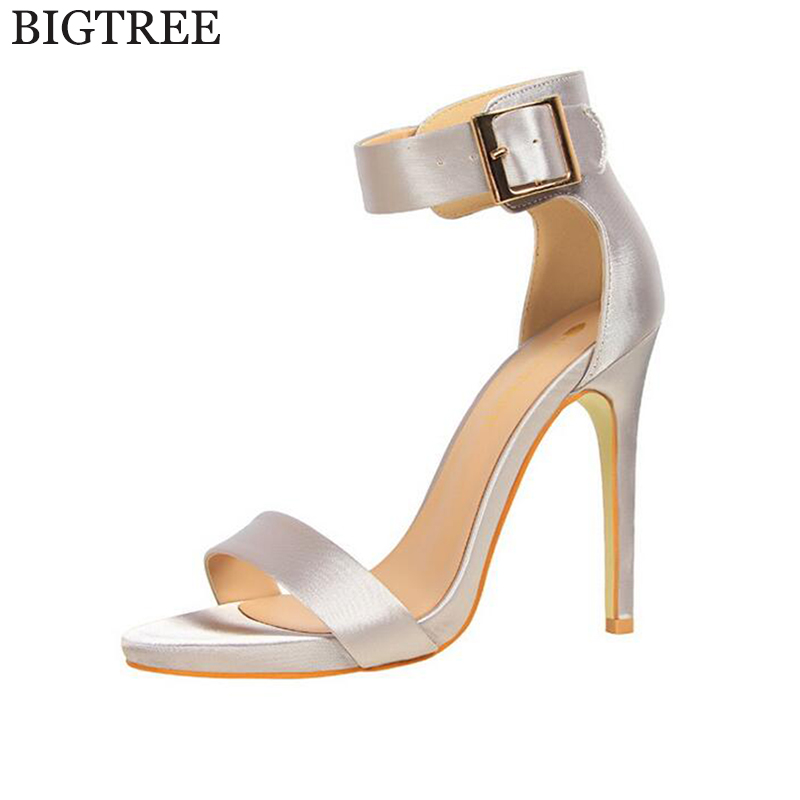 BIGTREE Fashion silk high heels Women Sandals Summer Shoes Wedges Open Toe Thick Heel Mujer Soft PU Women Platform Sandals Shoe free shipping fashion 2017 new summer wedges platform sandals women black and white open toe high heels female shoes z596