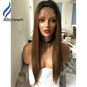 Image 3 - ALICROWN pelucas de cabello humano con encaje frontal ombré 1b/27, pelo Remy brasileño, 13x4, pelucas de encaje prearrancadas con nudos blanqueados de pelo de bebé